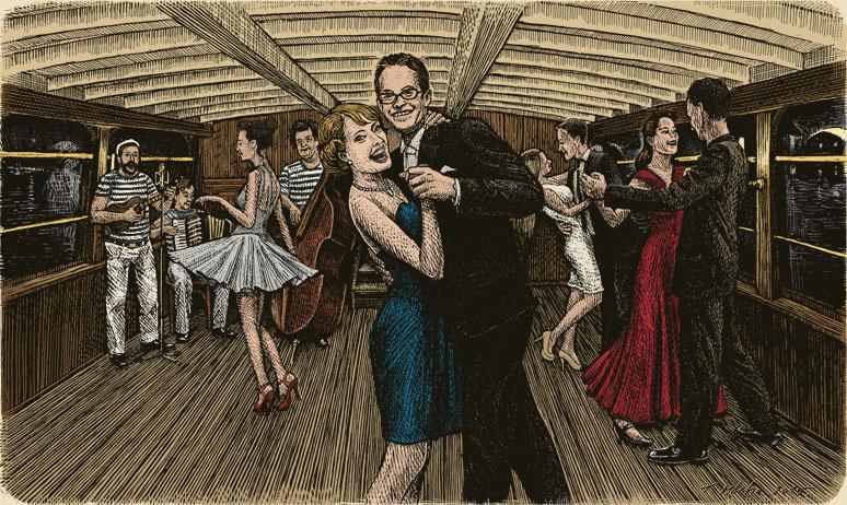 Kresba zachycující taneční zábavu na Salonní rychlolodi Nepomuk